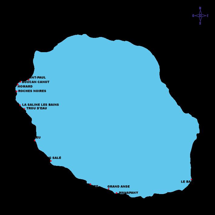 Carte des plages à La Réunion