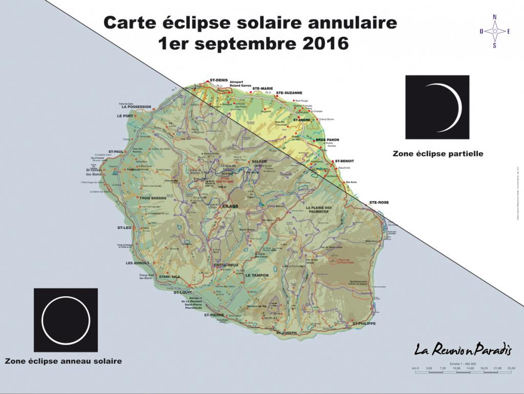 Carte de l'éclipse solaire annulaire à La Réunion